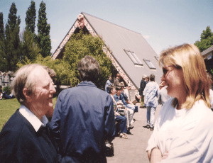 Merv Hancock and Sonya Hunt at the Kiririroa Marae, 1998.
