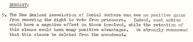 Submission on prisoner's right to vote.