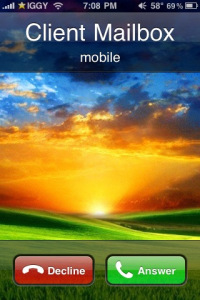 iPhone screen capture of a client calling my Google Voice number