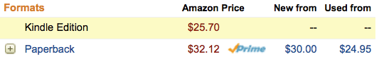 Image of Amazon Prices: Book vs. Kindle
