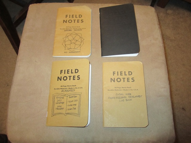 My four Field Notes Brand notebooks (see caption for description)