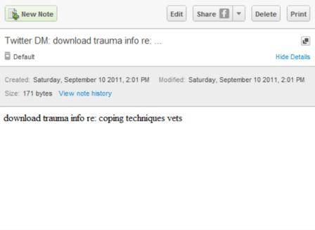 Note in Evernote from SMS that states: d myen download trauma into re: coping techniques vents