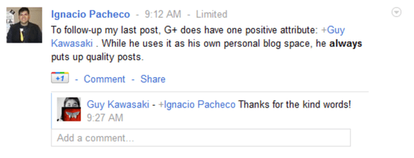 Guy Kawasaki converses with Iggy on Google Plus