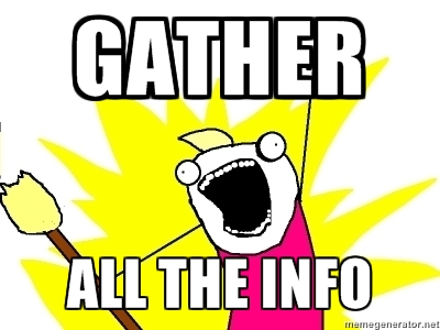 "An Internet Meme with a guy screaming, ""GATHER ALL THE INFO"""