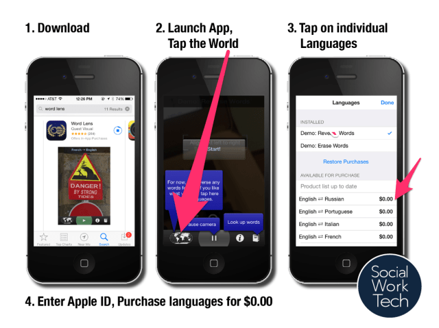 1. Download from app store, 2. Launch the app, tap world icon, 3. tap desired language pack, 4. Enter Apple ID and download for $0.00!