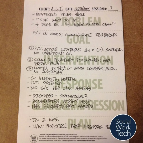 A picture of a note that utilizes one of my templates in a session