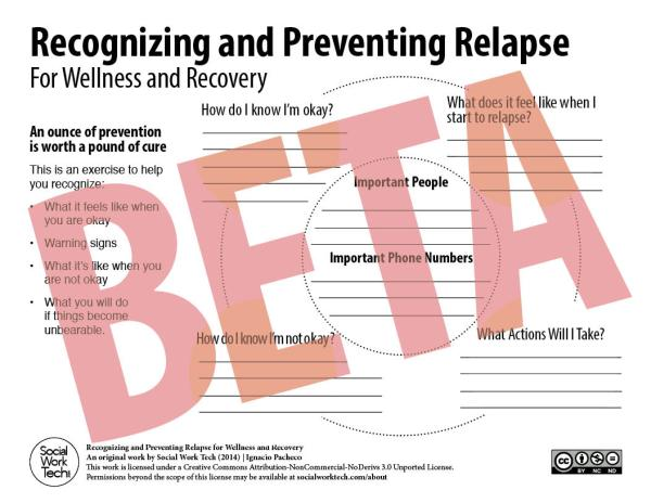 """A beta version of an intervention titled """"Recognizing and Preventing Relapse"""""""