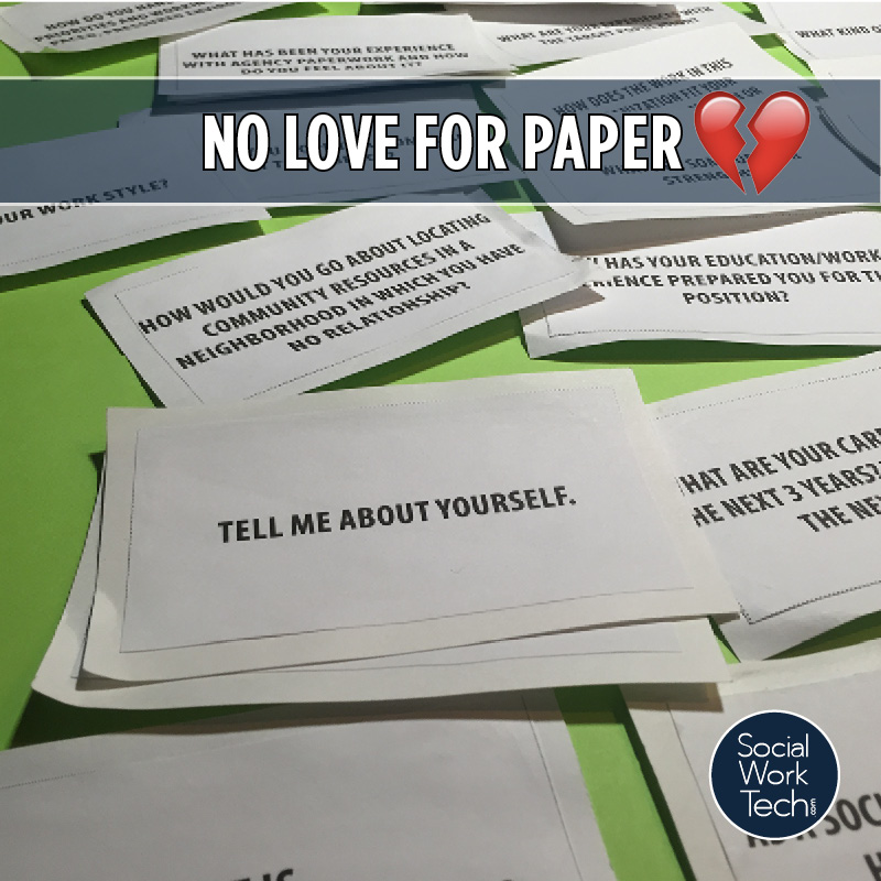 "A picture of written out flashcards with text above saying ""no love for paper"" and the emoji for a broken heart."