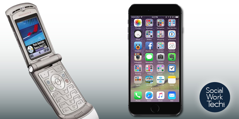 A picture of a Motorola RAZR and an iPhone, indicating transition from old to new. Social Work Tech logo on the lower right-hand side.