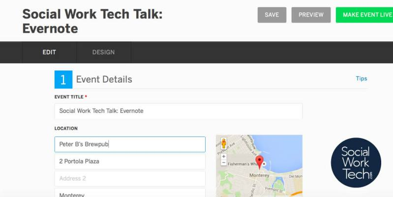 A screenshot of the event creation page on Eventbrite: Enter venue information