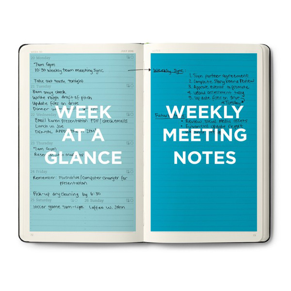 "A picture of the evernote planner that is open. Left side says, ""week at a glance"", right side says, ""weekly meeting notes"""