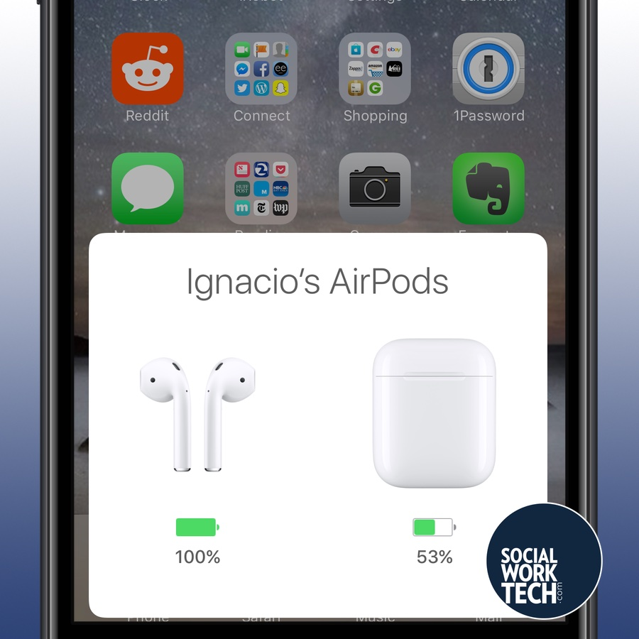 A picture of an iPhone Screen with a banner showing Ignacio's AirPods, buds and case, with battery percentage of each