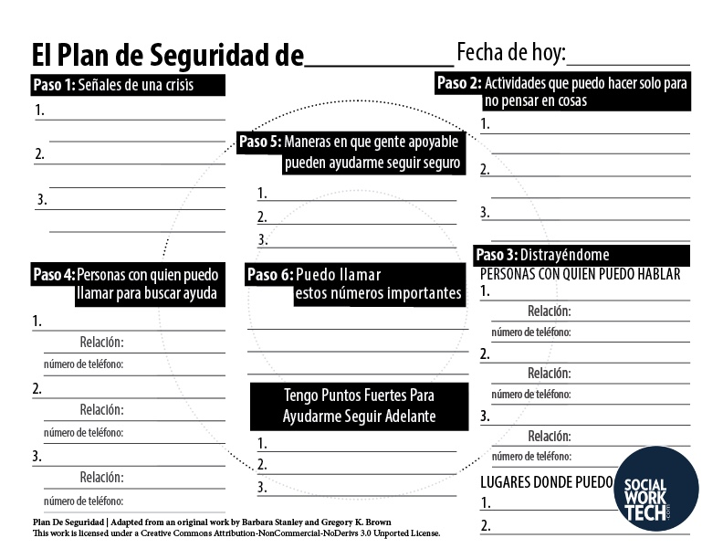 A picture of the Spanish version of the safety Plan. See PDF for readable version