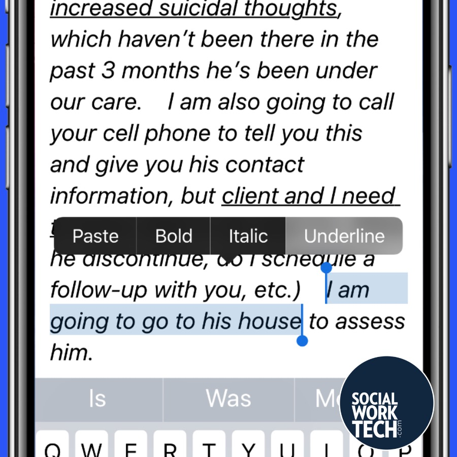 """Email Message says the message in the previous message, but with """"I am going to go to his house"""" highlighted and the prompt to underline that text highlighted"""