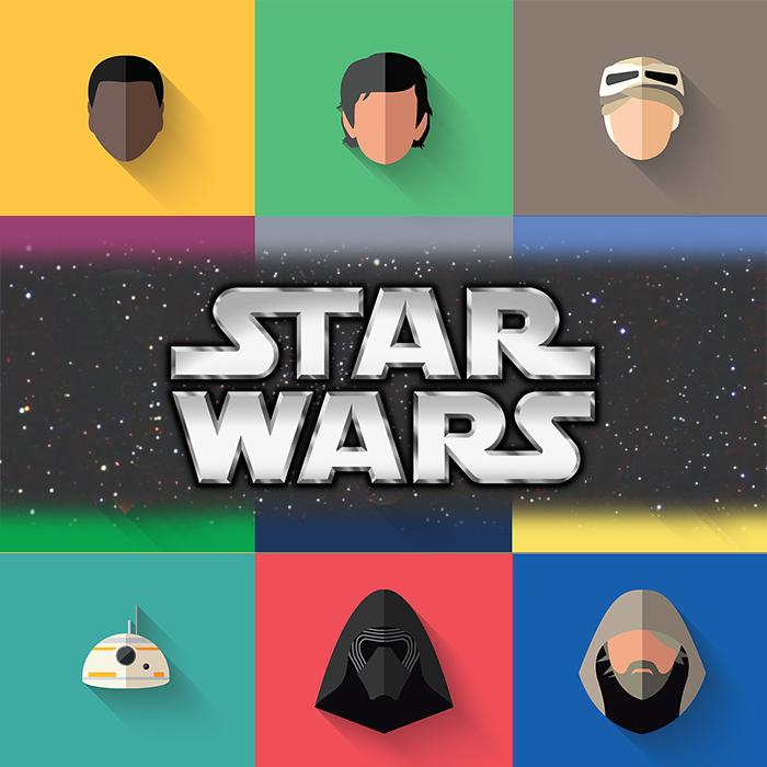 """Ícones """"Flat"""" de Star Wars e O Despertar da Força."""