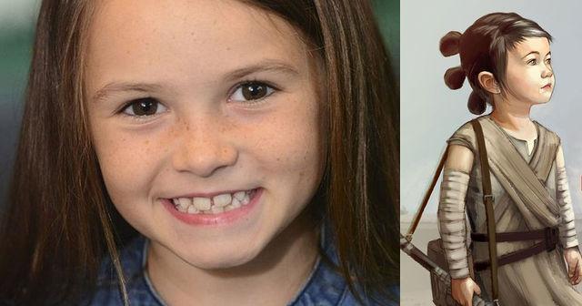 Conheça a garotinha que fez a jovem Rey no filme
