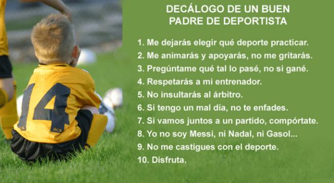 Decálogo de un buen padre de deportista.