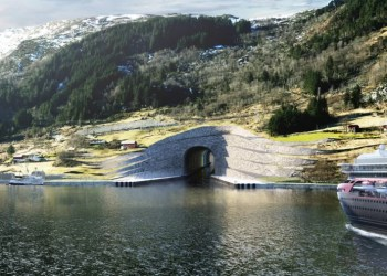 A construção do Túnel de Barcos Stad, permitindo acomodar navios de cruzeiro e de carga com peso até 16.000 toneladas, poderá ficar pronta em 2023. (Crédito: Snøhetta/Administração Costeira da Noruega)