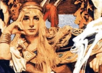 Ilustração da rainha Medb, por J. C. Leyendecker
