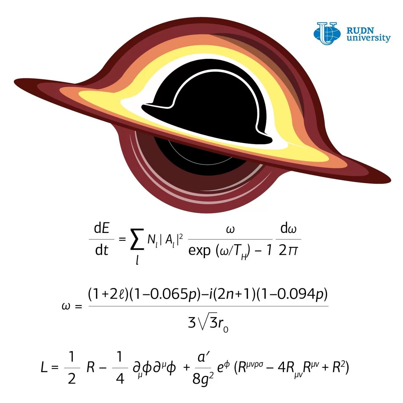 Cálculo da radiação Hawking no horizonte de eventos de um buraco negro. (Créditos: RUDN University)