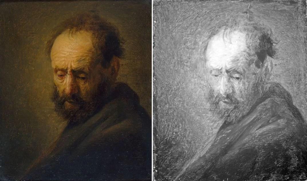 imagem infravermelho da possível obra de Rembrandt