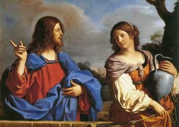 """Cristo e a mulher samaritana no poço"", Il Guercino.  (Museo Nacional Thyssen-Bornemisza, Madrid Inv. no. 176 (1976.55))."