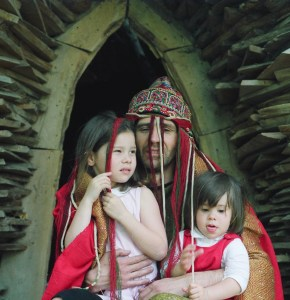 Ivan Szendro, Hungarian Shaman, and his daughters Julia and Mera, at the International Touch Time (Theater) Festival in Holland, 1992. Photo courtesy of Ivan Szendro, all rights reserved.