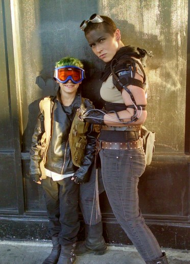 Yolkai Scott and Clyde Mighty Scott as Furiosa and Mad Max. Photo credit to Asher Brumberger