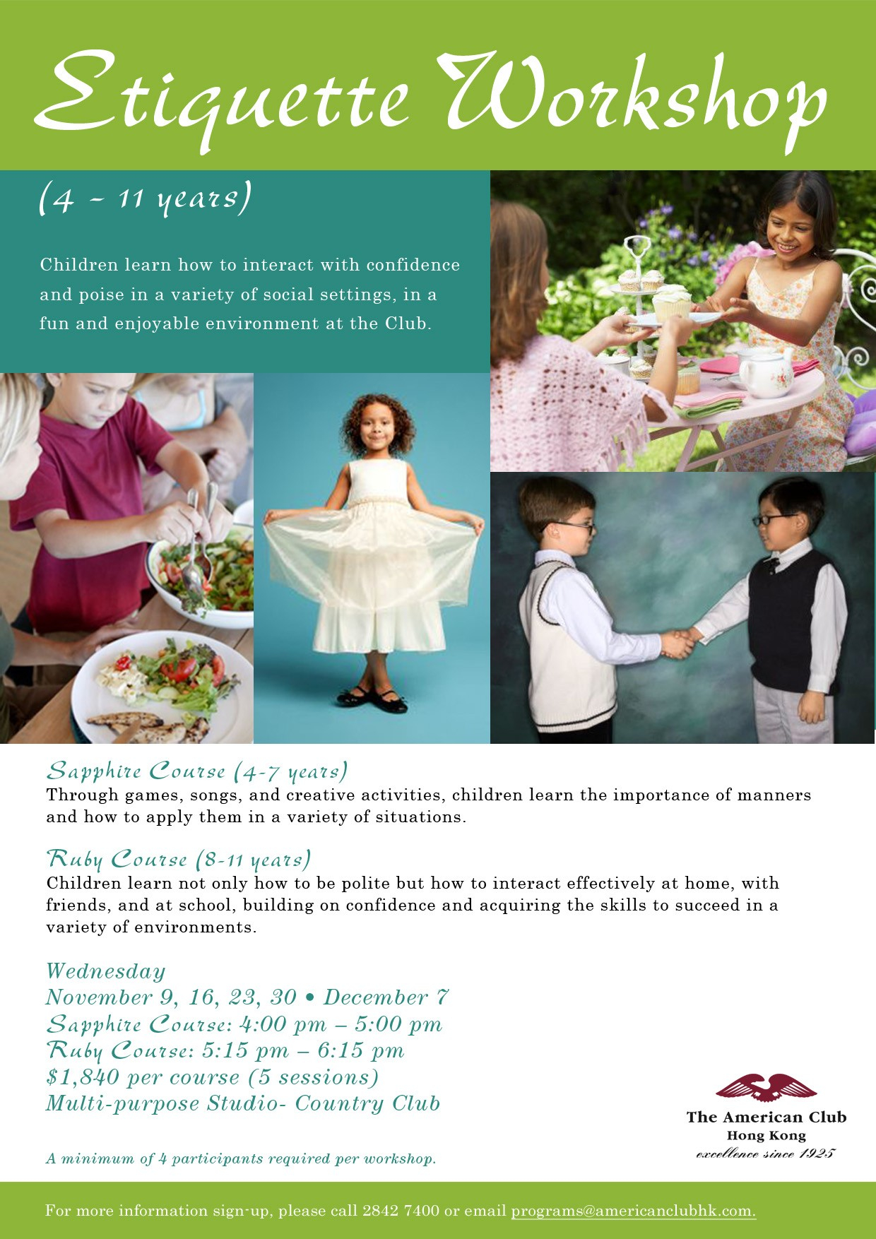 Children S Social And Dining Etiquette At The American Club