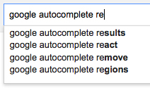 "Google autocomplete showing autocomplete suggestions for the search query ""Google autocomplete re"""