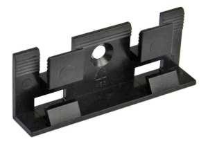 Clip zur Befestigung von Sockelleisten aus Kunststoff