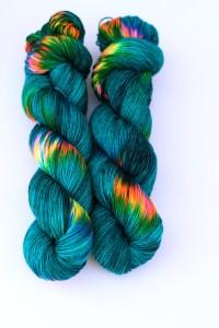 sock yarn teal rainbow speckles