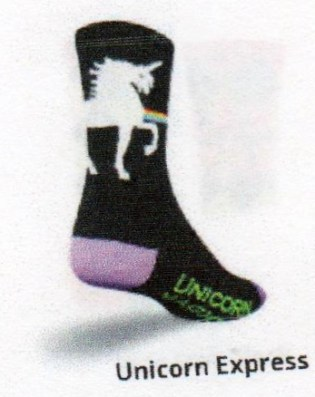 Black with Purple Toes and Heels A White Unicorn with a Rainbow Express Bridge which also is in writing on bottom of foot.