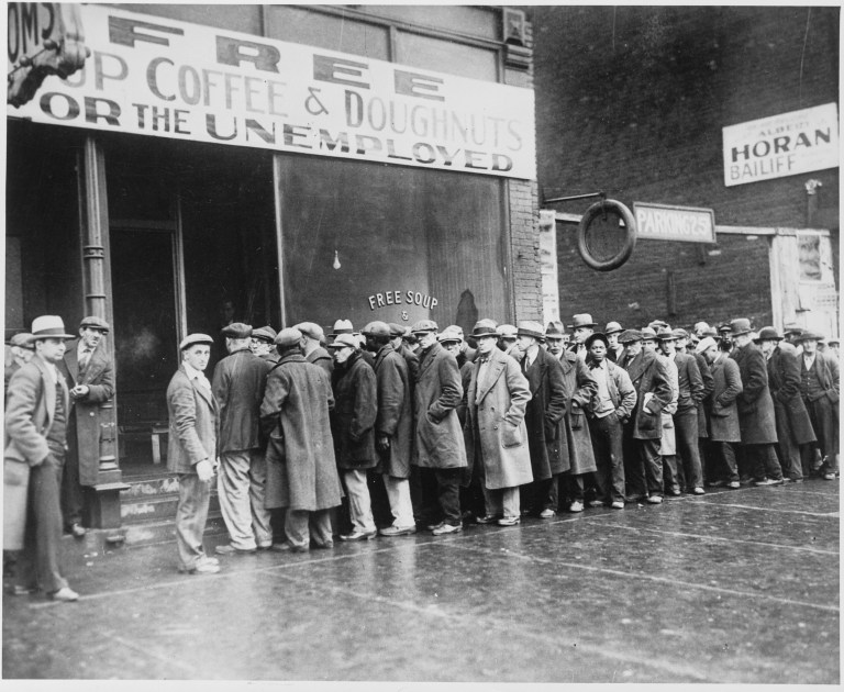 Men queueing for free soup during the Great Depression