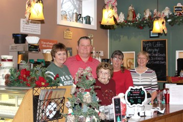Owners of the Scotts Corner Café are shown with their staff from left to right: Bonnie and Mark Hanson, June Bailey, Robin Dudley and Sandi Walters. Photos by Sheryl Oswalt.