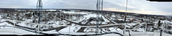 A view of downtown Vicksburg from the village water tower.