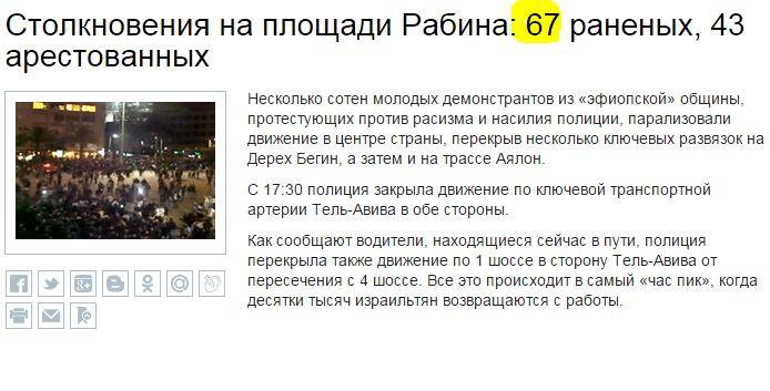 כתבה ברוסית 67 בהפגנת האתיופים