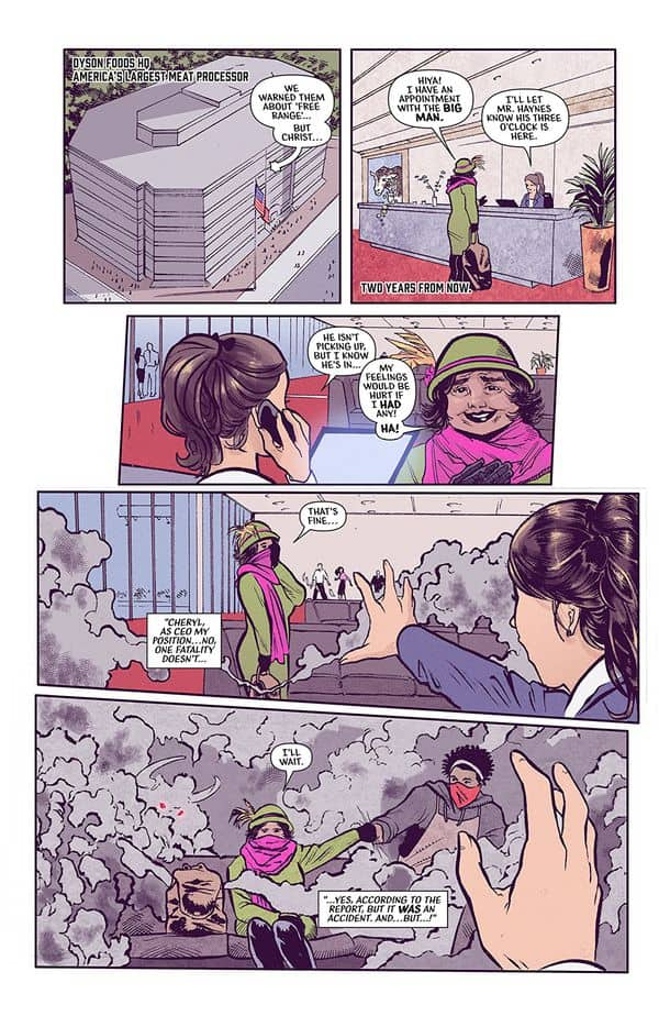 Page  one of Murder #1, wherein a terrorist woman dressed as if it was 1956 sets off a gas bomb inside Dyson Foods HQ before fistpumping a black guy.