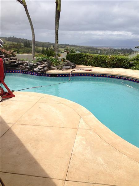 soda blasting swimming pool tile the