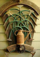 A sculpture of garden tools