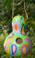 Birdhouse Gourd Whimsical Colorful Paisley.