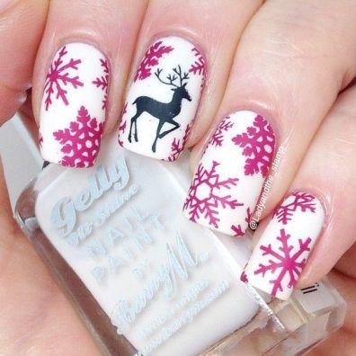 blogmas 2015, day 10, festive christmas nail art, pink and white, black snowflakes, reindeer, inspiration, goals, artsy, tumblr, pinterest