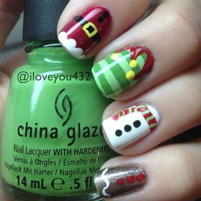 blogmas 2015, day 10, festive christmas nail art, red and green, elf outfits, snowflakes, inspiration, goals, china glaze