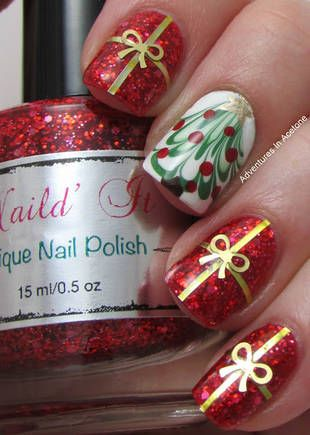 blogmas 2015, day 10, festive christmas nail art, red and green, wrapped presents, christmas tree, inspiration, goals, china glaze