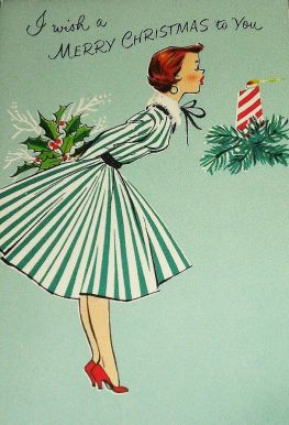 blogmas 2015, day 13, red and green appreciation post, christmas colours, vintage merry christmas card, the 50s, artsy, tumblr, pinterest