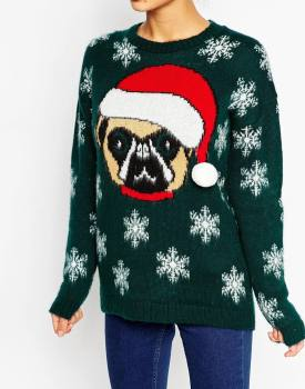 blogmas 2015, day 14, overly festive, ugly christmas jumpers, elf body, female sweater, asos, tumblr, pinterest, a pug, santa hat, green, snowflakes