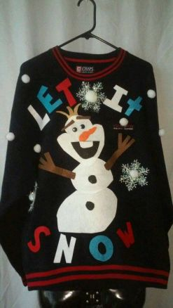 blogmas 2015, day 14, overly festive, ugly christmas jumpers, frozen, olaf, let it snow, tumblr, pinterest