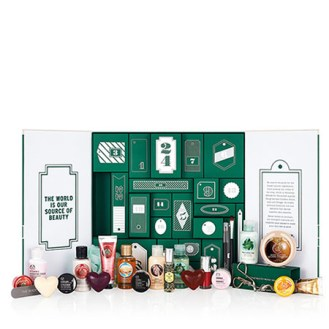 blogmas 2015, day 7, advent calendars 2015, 24 days until christmas - the body shop (green) - contains... - beauty, tumblr, pinterest, artsy