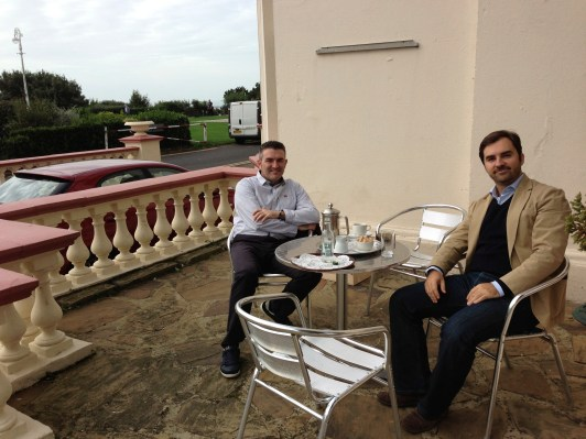 With the Spaniards having a morning coffee on the Clifton terrace in 2013
