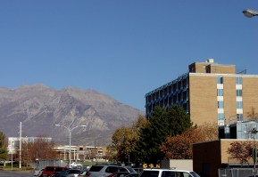 Q-Hall with Mt. Timpanogas in the background
